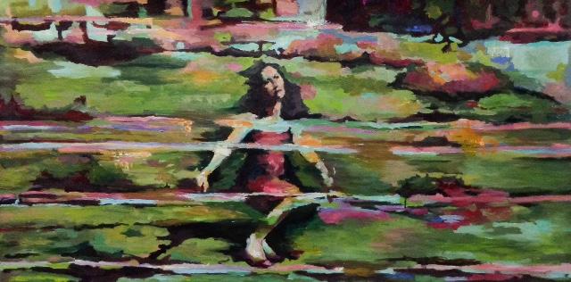 Privada de consciência e de palavras, agindo como num sonho. 100x140, óleo sobre tela Deprived of consciousness and words, just acting like in a dream 100x140, oil on canvas